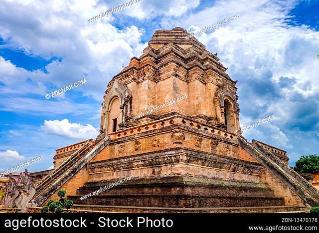 Wat Chedi Luang temple big Stupa in Chiang Mai, Thailand