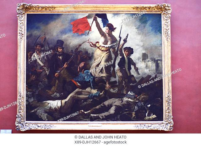 France, Paris, Louvre Museum, Painting, Liberty Leading the People depicting French uprising 1830, painted by Eugène Delacroix