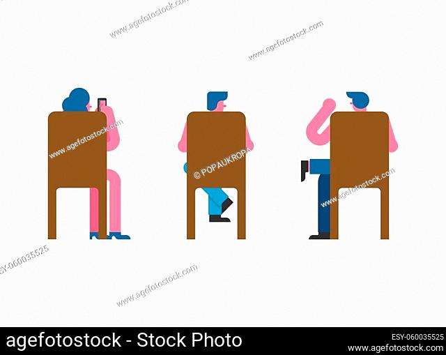 People sitting on chair back set. Man and woman Vector illustration