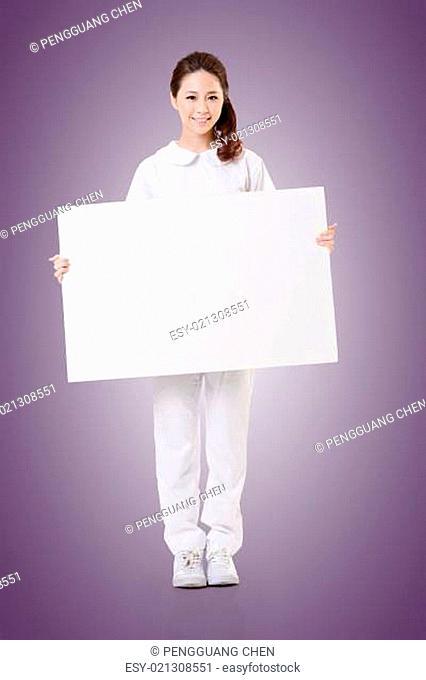 nurse with blank board