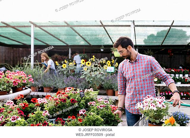Customer of a garden center choosing a flower