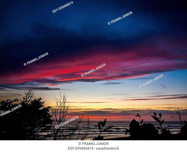 Colorful Sunset at Arcadia Beach on the Northern Oregon Coast USA