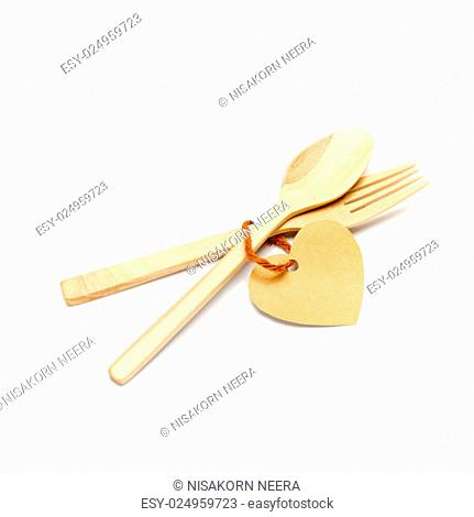 spoon and fork wood with heart tag