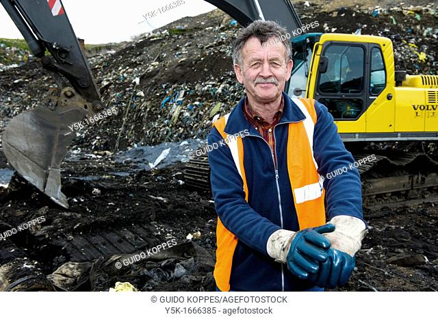 This 67-year old man still works as a freelance machinist on an excavator on top of the regional dump-site near Tilburg, The Netherlands