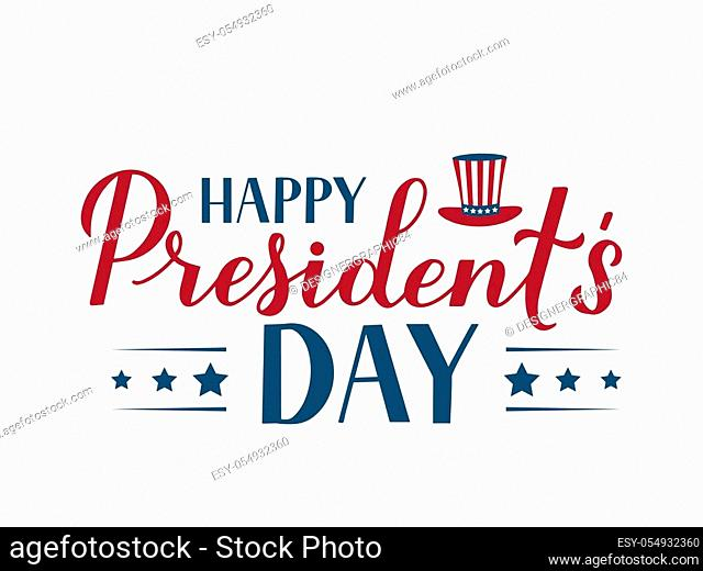 Happy Presidents Day calligraphy lettering isolated on white. American patriotic typography poster. Vector illustration. Easy to edit template for logo design
