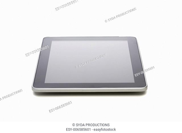 electronics, technology, advertisement and modern gadget concept - black tablet pc computer with blank screen