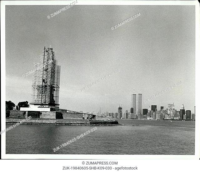 1984 - New York Harbor, June 1984 The 305 foot tall Statue of Liberty , made of copper, iron, and concrete has been wrapped in a framework of aluminum...