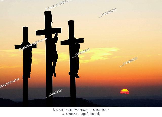 Three crosses on Kreuzberg mountain near Bischofsheim, Rhön, Franconia, Bavaria, Germany