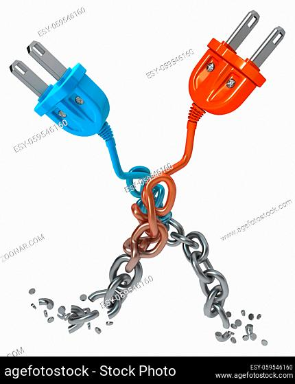 Chain transforming turning into electric power cable plugs, dark grey metal with blue and orange plastic 3d illustration, isolated, vertical, over white