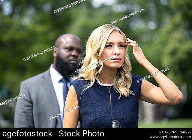 White House Press Secretary Kayleigh McEnany, joined by Ja'Ron Smith, Deputy Assistant to the President, speaks to members of the media following a television...