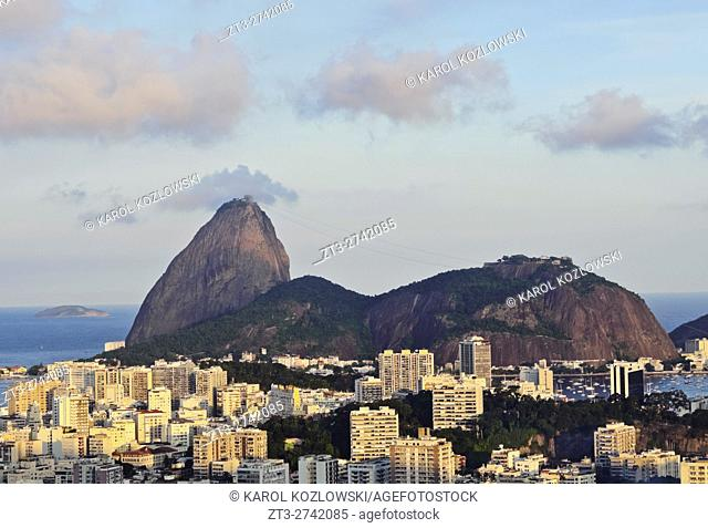 Brazil, City of Rio de Janeiro, Pereira da Silva, View over Laranjeiras towards the Sugarloaf Mountain