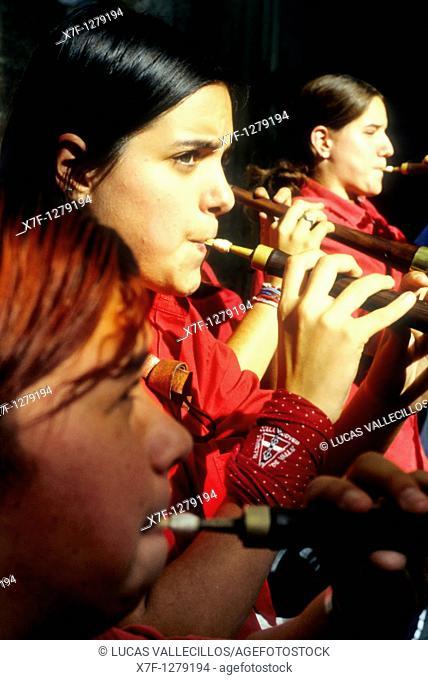 `Grallers'of Colla Jove de Valls 'Castellers' is a Catalan tradition Fira de Santa Teresa, town festival  Plaça Vella El Vendrell Tarragona province,Catalonia