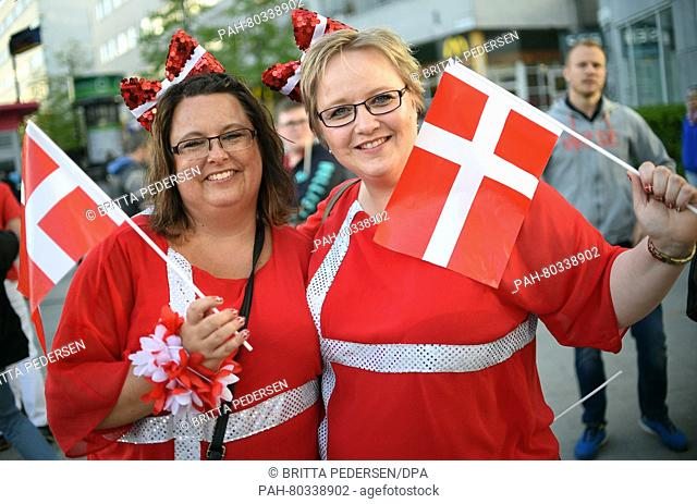ESC fans Gitte and Gitte posing in front of the Ericsson Globe Arena in Stockholm, Sweden, 12 May 2016 on the occasion of the 61st annual Eurovision Song...