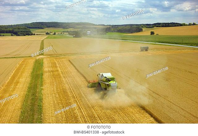 mowing-machine harvesting a wheat field, 23.07.2015, aerial view , Germany, Baden-Wuerttemberg, Odenwald