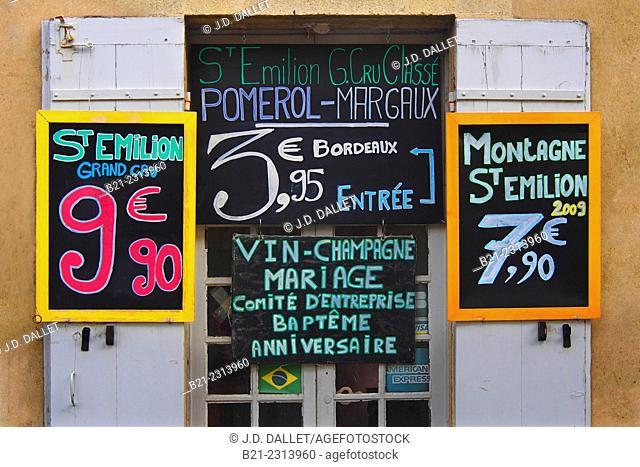 Wine shop at Saint Emilion, Bordeaux wines district, Gironde, Aquitaine, France