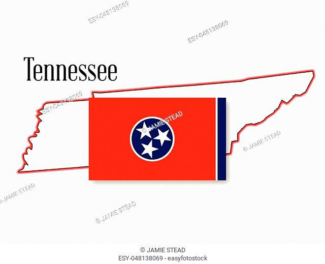 State map outline of Tennessee over a white background with flag inset