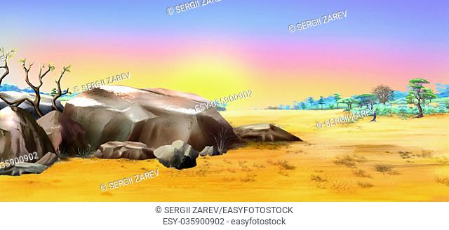 African landscape with large stones on the background of dawn in a Summertime. Digital Painting Background, Illustration in cartoon style character