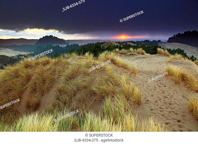 A sunset and a storm over Honeyman Sand Dunes, in Jessie M. Honeyman Memorial State Park, along the Oregon Dunes National Recreation Area, near Florence, Oregon