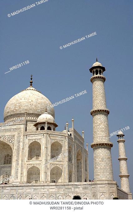 Minaret of Taj Mahal Seventh Wonders of World , Agra , Uttar Pradesh , India UNESCO World Heritage Site