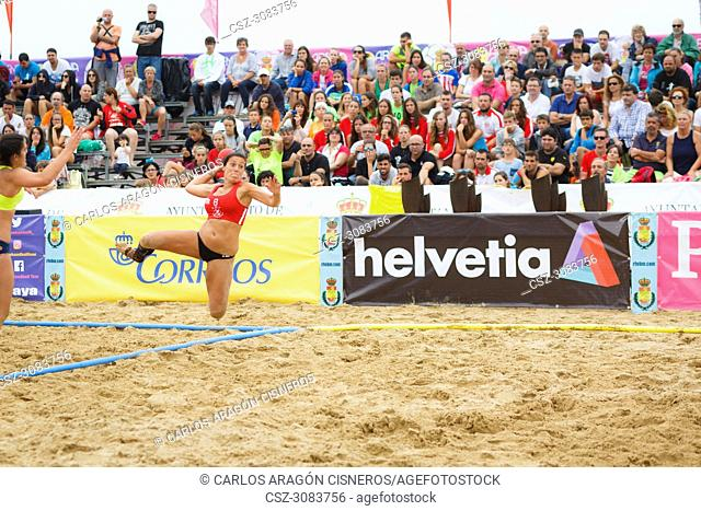 LAREDO, SPAIN - JULY 31: Unidentified girl, Deporte y Empresa Clinicas Rincon, player launches to goal in the Spain handball Championship celebrated in the...