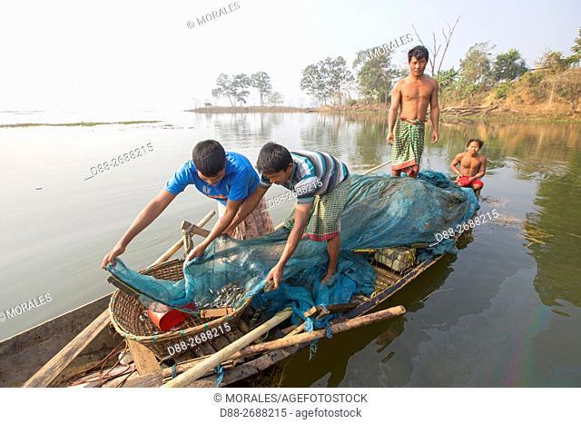 South east Asia, India,Tripura state,Bambur lake,fishermen