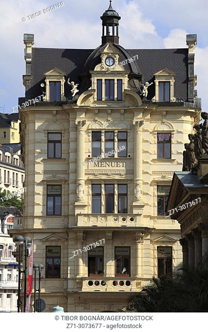 Czech Republic, Karlovy Vary, Menuet Store, historic architecture,