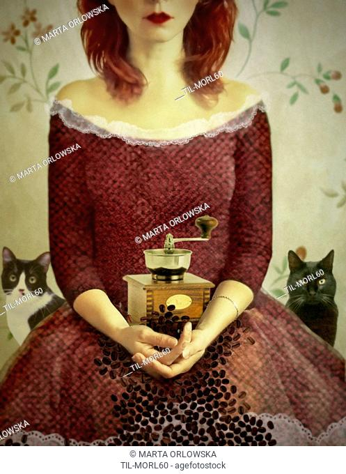 Conceptual image of young woman sitting wearing a red dress with coffee mill and cats