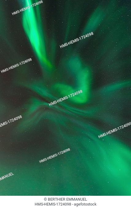 Norway, Lapland, Troms, Tromso, northern light on the Kvaloya island
