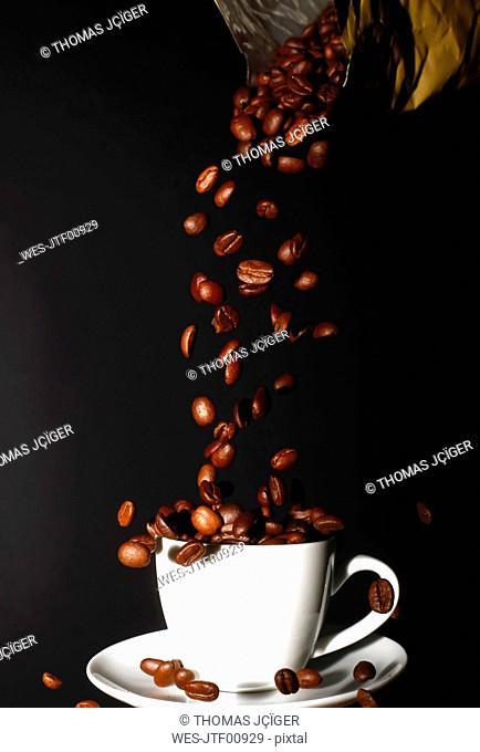 Espresso beans and espresso cup