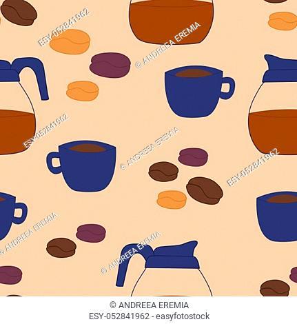 Coffee elements in an autumn pattern design