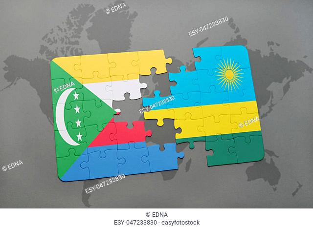 puzzle with the national flag of comoros and rwanda on a world map background. 3D illustration