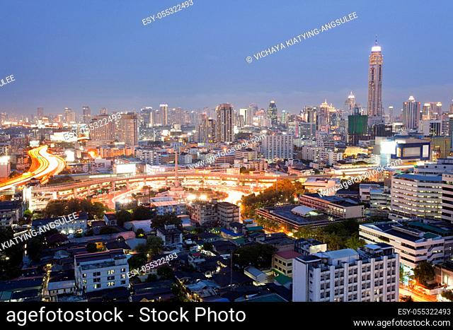 Cityscape of Bangkok Skylines at Victory Monument Downtown at Dusk aerial view