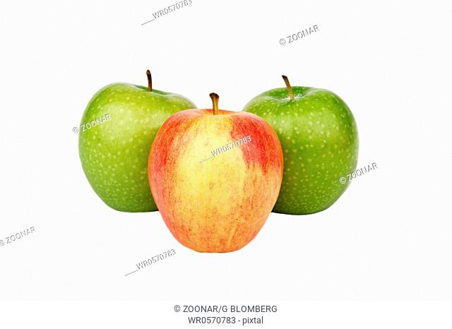 One Red Apple and Two Green Apples
