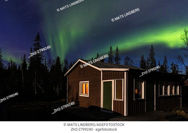 Aurora borealis over cabin in forest with moon light shining, Gällivare, Swedish Lapland, Sweden