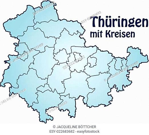 Karte von Thueringen mit Grenzen in Blau