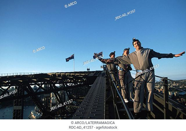 People on top of the Sydney Harbour Bridge bridge climb Sydney New South Wales Australia