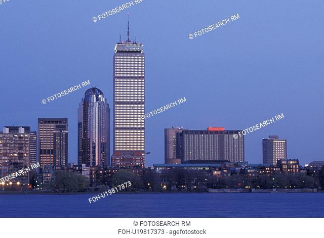 Boston, skyline, MA, Massachusetts, The Prudential Tower and skyline of downtown Boston along the Charles River in the evening