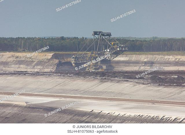 Excavator at work at Nochten opencast mine, mining for lignite. Saxony, Germany