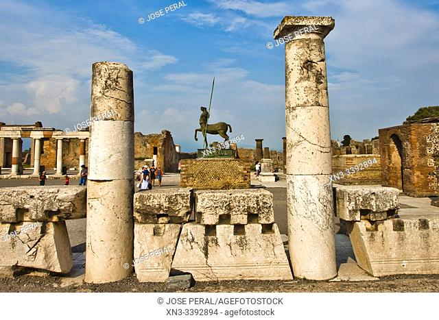 The Forum, Centaur statue, Excavations of Pompeii, was an ancient Roman town destroyed by volcan Mount Vesuvius, Pompei, comune of Pompei, Campania, Italy