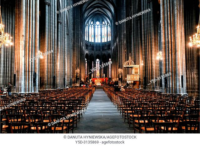 Interior of gothic Notre Dame de L'Assomption Cathedral - Cathedral of Our Lady of the Assumption of Clermont-Ferrand, French national monument