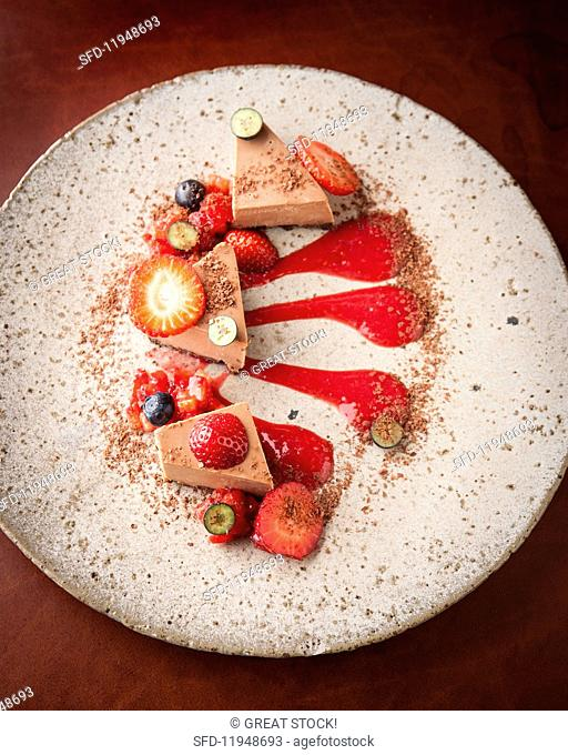 Chocolate pave with berries at the Charango restaurant, Cape Town, South Africa