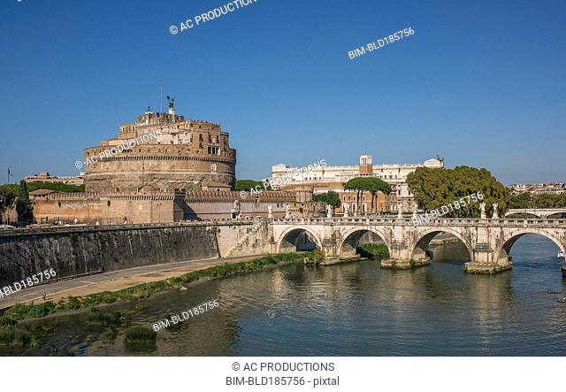 Sant Angelo Castle and bridge under blue sky, Rome, Lazio, Italy