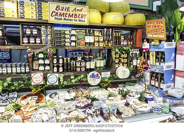Florida, Delray Beach, The Boys Farmers Market, gourmet grocery store supermarket food display sale, dairy, shopping, imported cheese, brie, camembert, interior