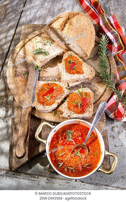 Bruschetta bread with tomato and chili sauce and integral