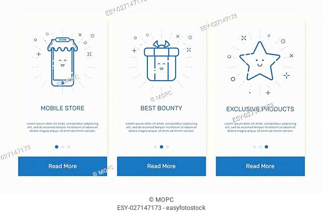 Vector Illustration of onboarding app screens and flat line web icons for e-commerce mobile apps . Modern interface UX, UI GUI screen template for mobile smart...