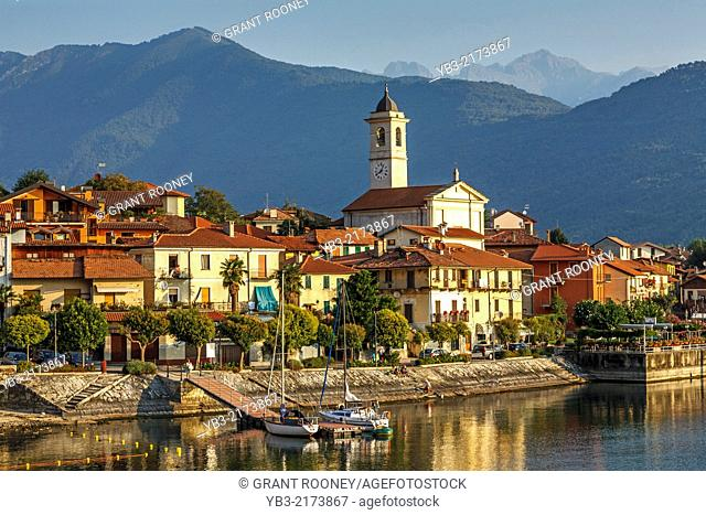 View of The Town of Feriolo, Lake Maggiore, Lombardy, Italy