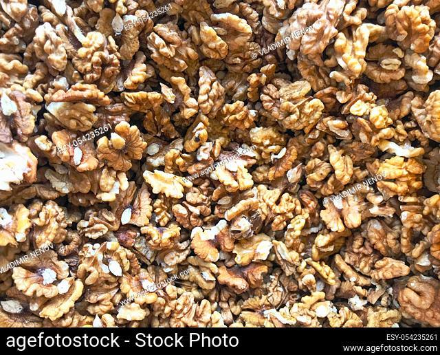 Close-Up Of Peeled Fresh Walnuts Background