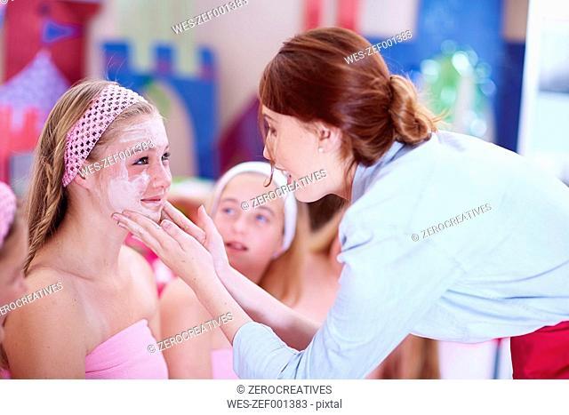 Girl on a beauty farm receiving beauty treatment