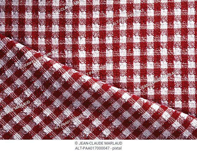 Red and white checked fabric, close-up, full frame