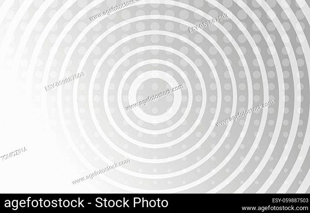 White digital background with dots and circles. Digital backdrop. Grey banner technology